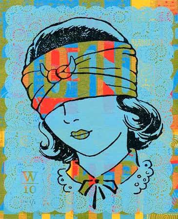 """Girl Head , James Weinberg, silkscreen monoprint, 15"""" x 12½"""" framed, sold"""