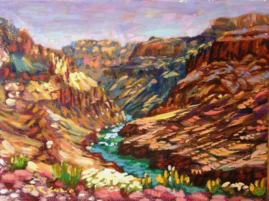 """Vista , Charles Tersolo, oil on canvas, 11¼"""" x 13¼"""" framed, sold"""