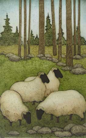 "Little Flock , Kathleen Buchanan, collagraph, 14"" x 9"" framed, $425"