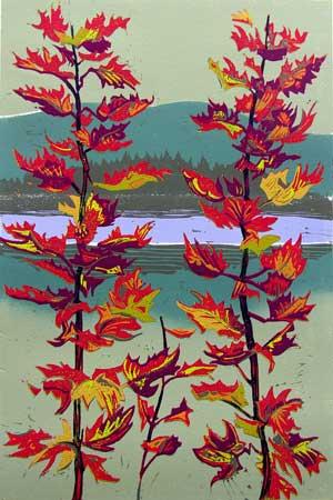 "Passage Through the Season's Fluttering Fire , Susan Jaworski-Stranc, reduction linoleum print, 27½"" x 21¼"" framed, $750"