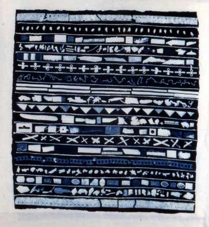 """Homework 8 , Peter Madden, cyanotype, 28¾"""" x 26½"""" framed, $1700"""