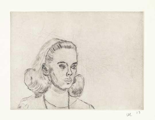 "Sandy Dennis 1: Trepidation , David Curcio, drypoint etching, 16"" x 17½"" framed, $500"