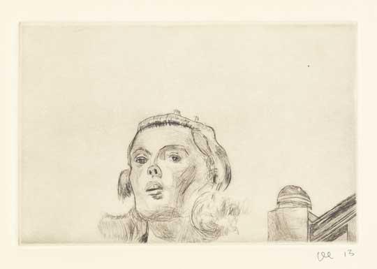 "Sandy Dennis 2: Revelation , David Curcio, drypoint etching, 16"" x 17½"" framed, $500"