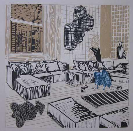"""Bourgeoisie Gone Awry 4 , Ellen Shattuck Pierce, collaged linoleum print, 19¾"""" x 19¾"""" framed, $450"""