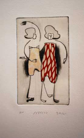 "Women , Nancy Popper, etching, drypoint, chine-collé, 11"" x 9"", $225"