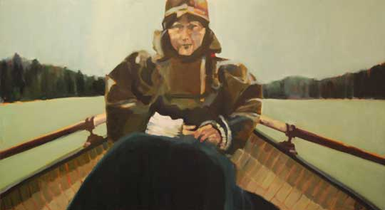 "Woman in Rowboat , Beth Dacey, oil on canvas, 40"" x 72"", $5500"
