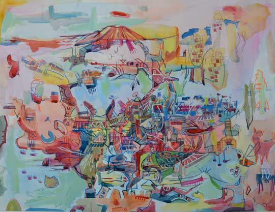 """Circulatory District , Marco Athié, watercolor and china marker on paper, 21¼"""" x 27¼"""" framed, $750"""