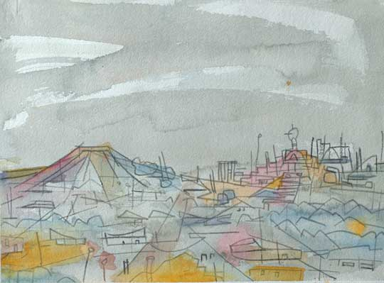 """Lost Rooftops , Marco Athié, watercolor and china marker on paper, 12¾"""" x 16½"""" framed, $475"""
