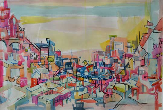 """Riparian Corridor , Marco Athié, acrylic, watercolor and china marker on paper, 16¼"""" x 23¾"""" framed, sold"""