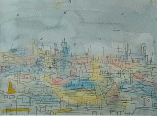"""Rooftops , Marco Athié, watercolor and china marker on paper, 12¾"""" x 16½"""" framed, $475"""