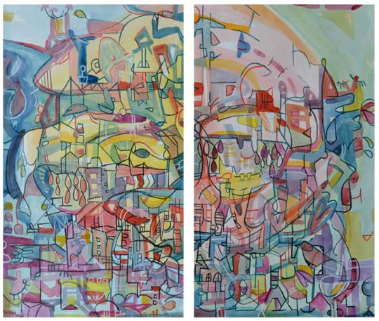 """The Tree Rose and the Tree Set (diptych) , Marco Athié, acrylic, watercolor and china marker on paper, 18¾"""" x 12¾"""" framed (each), $900 for diptych"""