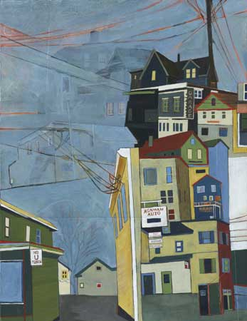 """Agawam and Exeter , Stacey Durand, acrylic and graphite over collage on panel, 24"""" x 18"""", $850"""
