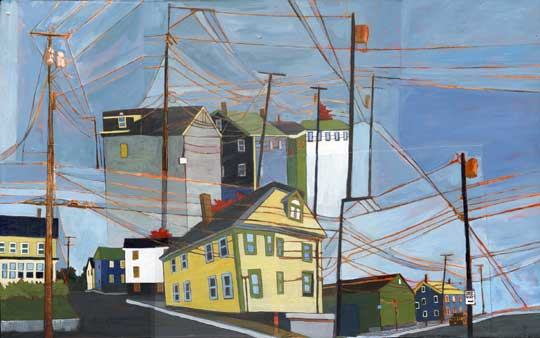 """Powerlines: Exeter to Newburyport , Stacey Durand, acrylic and graphite over collage on panel, 13¼"""" x 21½"""", $775"""