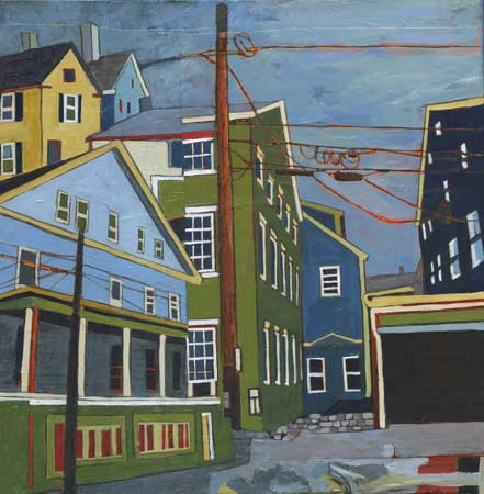 """State and Franklin Streets , Stacey Durand, acrylic and graphite over collage on panel, 11"""" x 11"""", $550"""