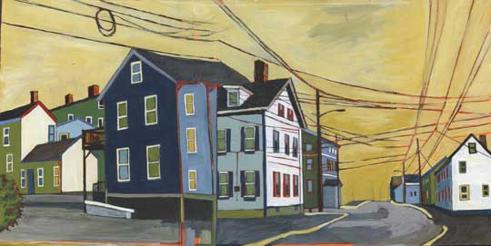 """Marcy and Pickering , Stacey Durand, acrylic and graphite over collage on panel, 9¾"""" x 19½"""", sold"""