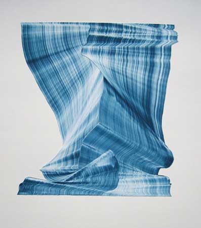 """Crest , Kristin Breiseth, collaged gelatin plate monotype, 21¼"""" x 17&frac;12"""" framed, $400"""
