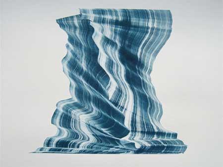 "Embrace , Kristin Breiseth, collaged gelatin plate monotype, 21¼"" framed, $400"