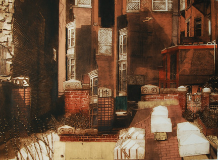 """Reverberations in an Urban Courtyard , Grace Bentley-Scheck, collagraph with silk aquatint, 30"""" x 38"""" framed, $900"""