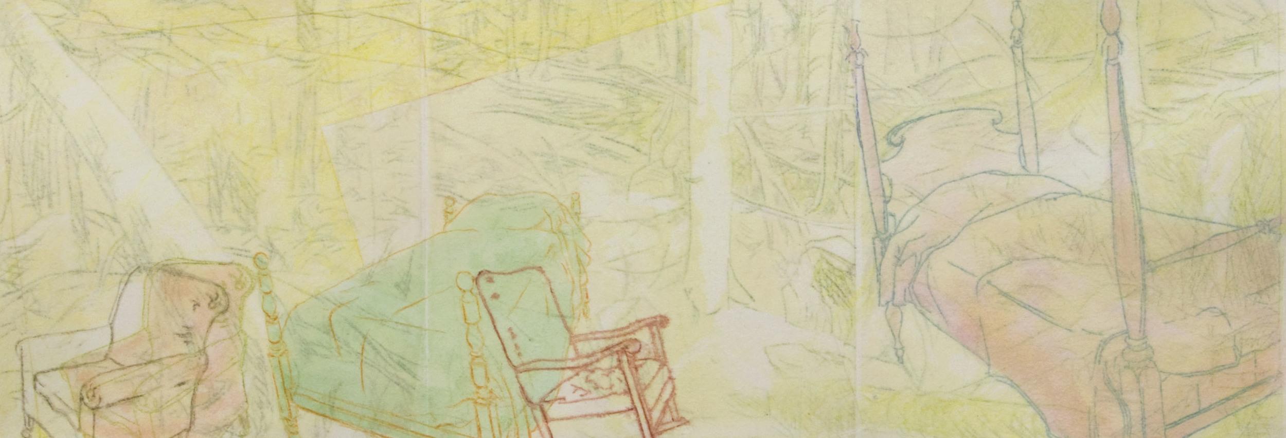 """Dreamscape #46 , Prilla Smith Brackett, monoprint, watercolor, color pencil on paper, 11¼"""" x 17¾"""" framed, $475"""