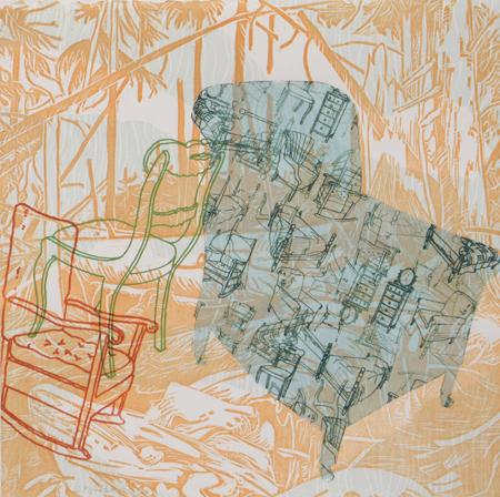 "Reverie #16 , Prilla Smith Brackett, woodcut, pronto plate, chine-collé, stencil on BFK 250, 15¼"" x 15¼"" framed, $700"
