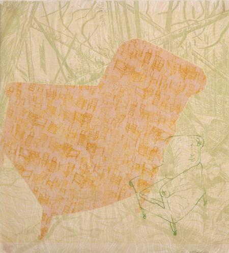 "Wellspring #9 , Prilla Smith Brackett, woodcut, pronto plate, stencil on Kizuki Kozo paper, 26"" x 24"" framed, $1,500"