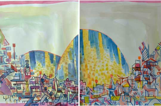 "Champagne Satellite (diptych),   watercolor, acrylic, china marker, 16¼"" x 12½"" each, framed ,  $800 for diptych"