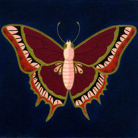 """Butterfly 2 , Mary O'Malley, gouache and ink on paper mounted on board, 6"""" x 6"""", $250"""
