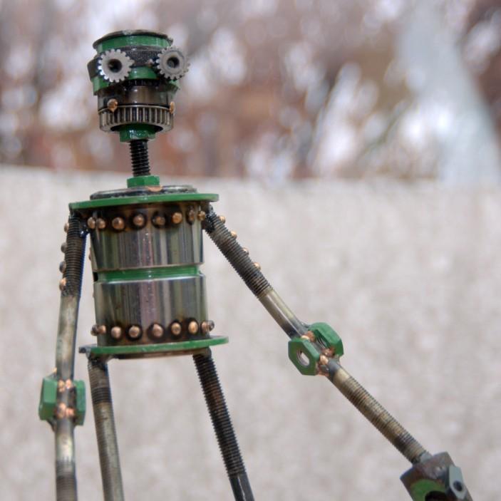 "Allen , Skunk, bicycle parts, piston valves, copper, bronze, enamel, 17 1/2 "" x 6 1/2"" x 3 1/2"",$350"