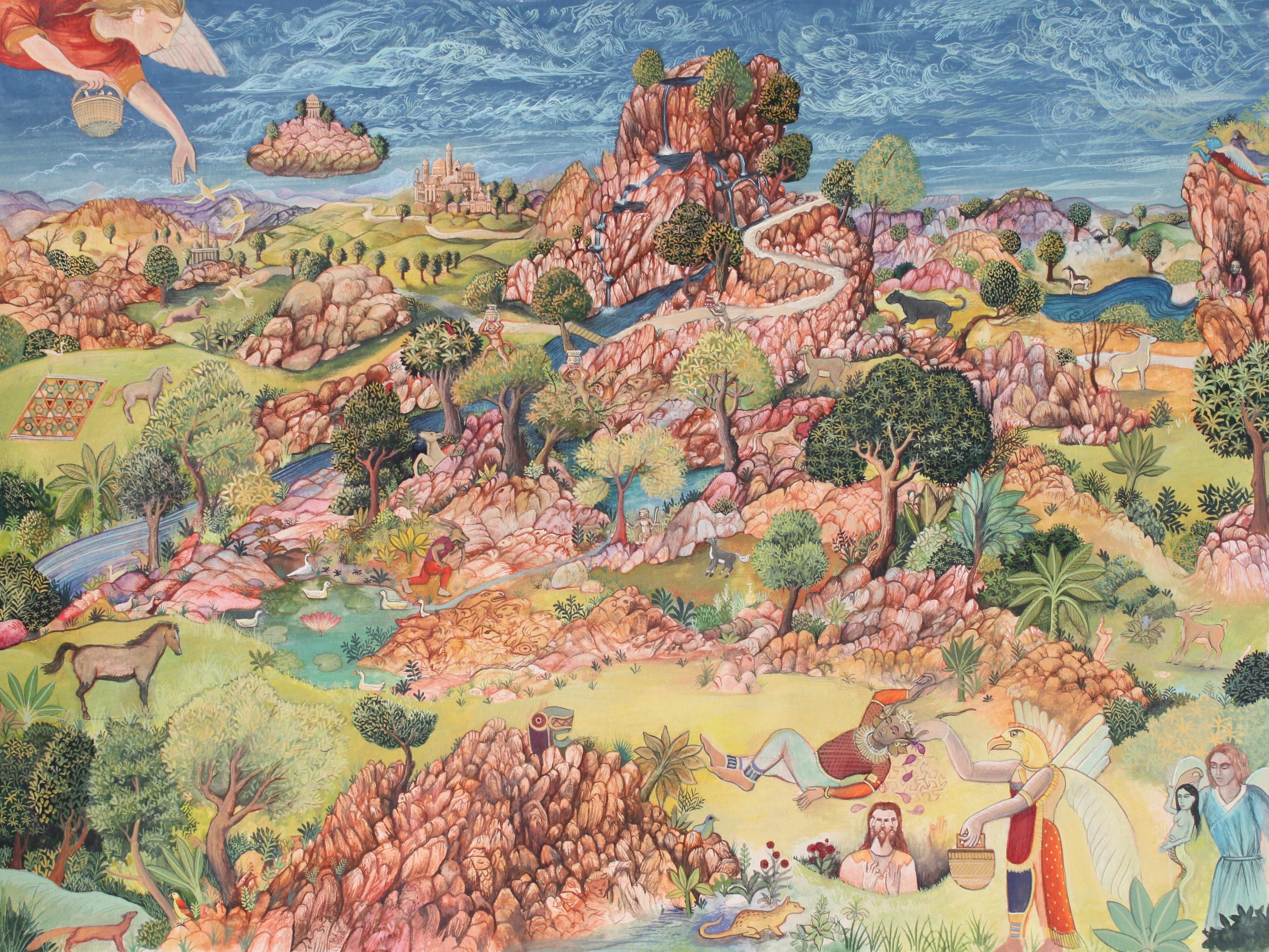 """The Land is Vast , John Campbell,gouache on paper, 16 3/4"""" x 20 3/4"""" framed, $1,200"""