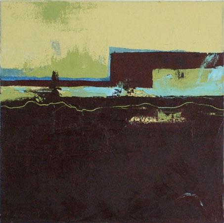 """Panorama II, Panel C , Joerg Dressler, oil on canvas, 12"""" x 12"""" framed ,  $1,100 each, $3,000 for all three panels"""