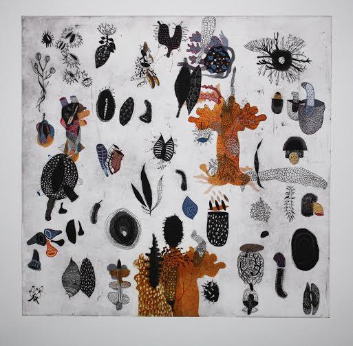 "Seeds, Boriana Kantcheva, etching, aquatint and gouache on paper, 17"" x 17"" framed, $350"