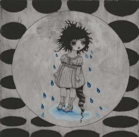 "Rain Tears,   etching, drypoint and gouache, 11"" x 11"" unframed , sold"