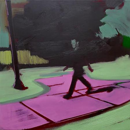 """Pink Sidewalk,  oil on linen, 24"""" x 24"""""""