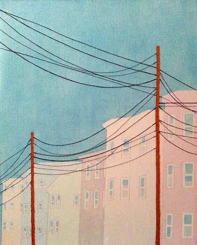 "Pastel Street,   acrylic, thread, gouache on canvas, 20"" x 16"""