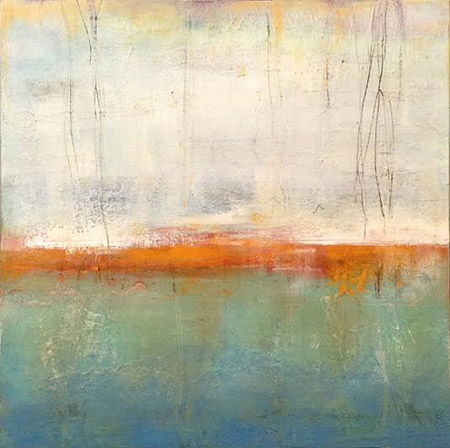 "Strata 4,   oil and cold wax on board, 14"" x 14"" framed ,  sold"