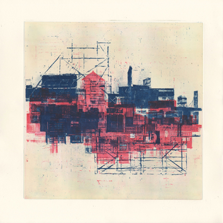 """Cityscape, R + B,   etching, 15"""" x 15"""" sheet size,   sold"""