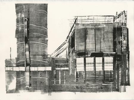 "Pittsburgh,   monoprint on Rives BFK paper, 15"" x 11""   sheet size, $145"