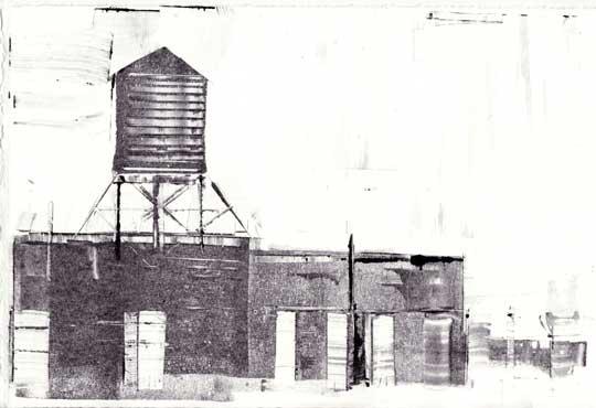 "Watertank,  monoprint, 12"" x 15"" framed ,  $185"