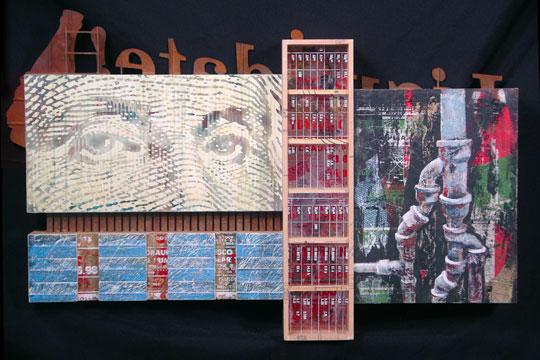 "Ad Valorem,  traditional collage on wood construction, masonite, screenprinting on plexiglass, acrylic and iron paint, gold leaf, 17½"" x 30½"" x 3½"""