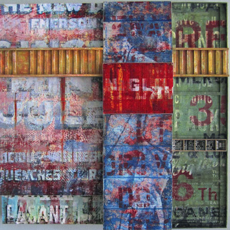 """Another Time (study),  digital and traditional collage on wood construction, screenprinting on plexiglass, acrylic,   15¼"""" x 15¼"""" x 2½"""""""