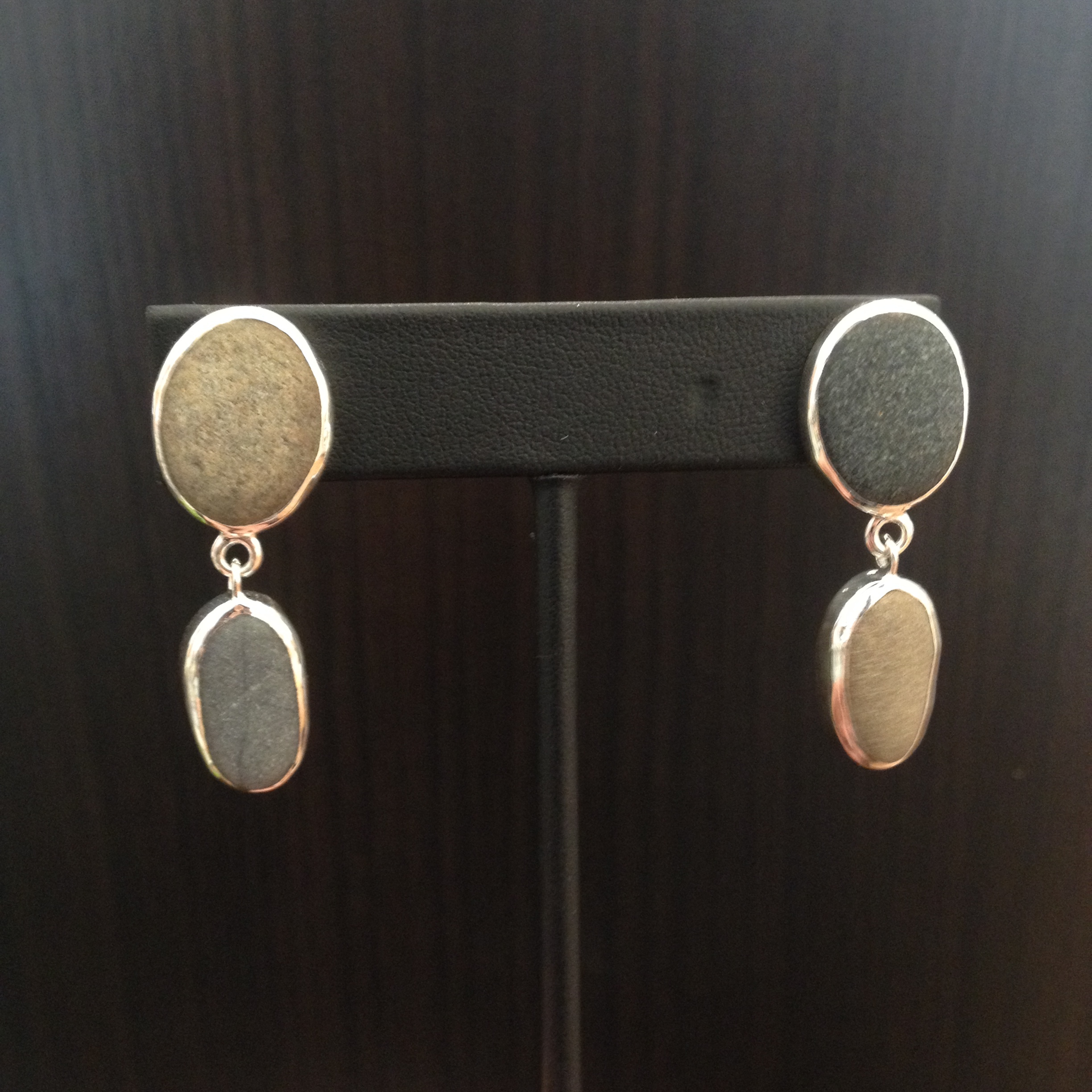 Beach stone earrings , beach stone, sterling silver, $140