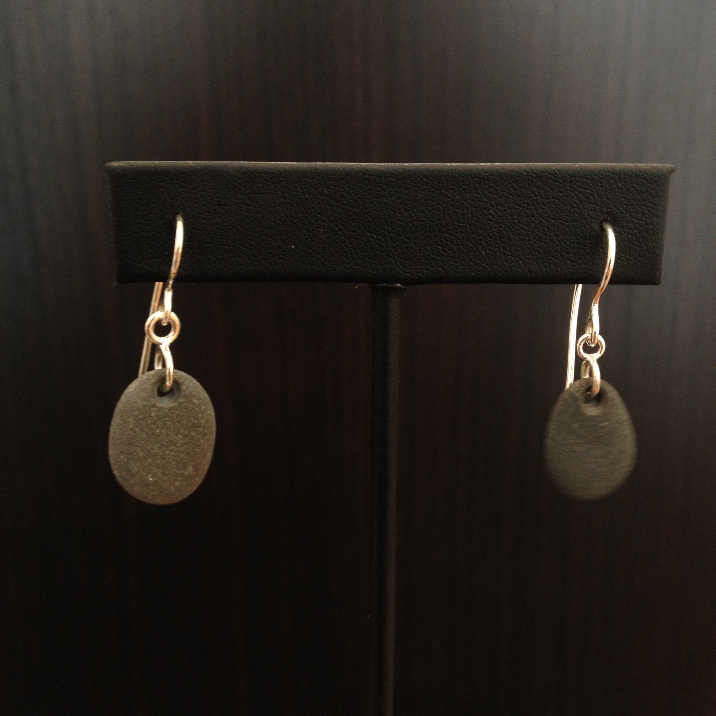 Beach stone earrings , beach stone, sterling silver, $75