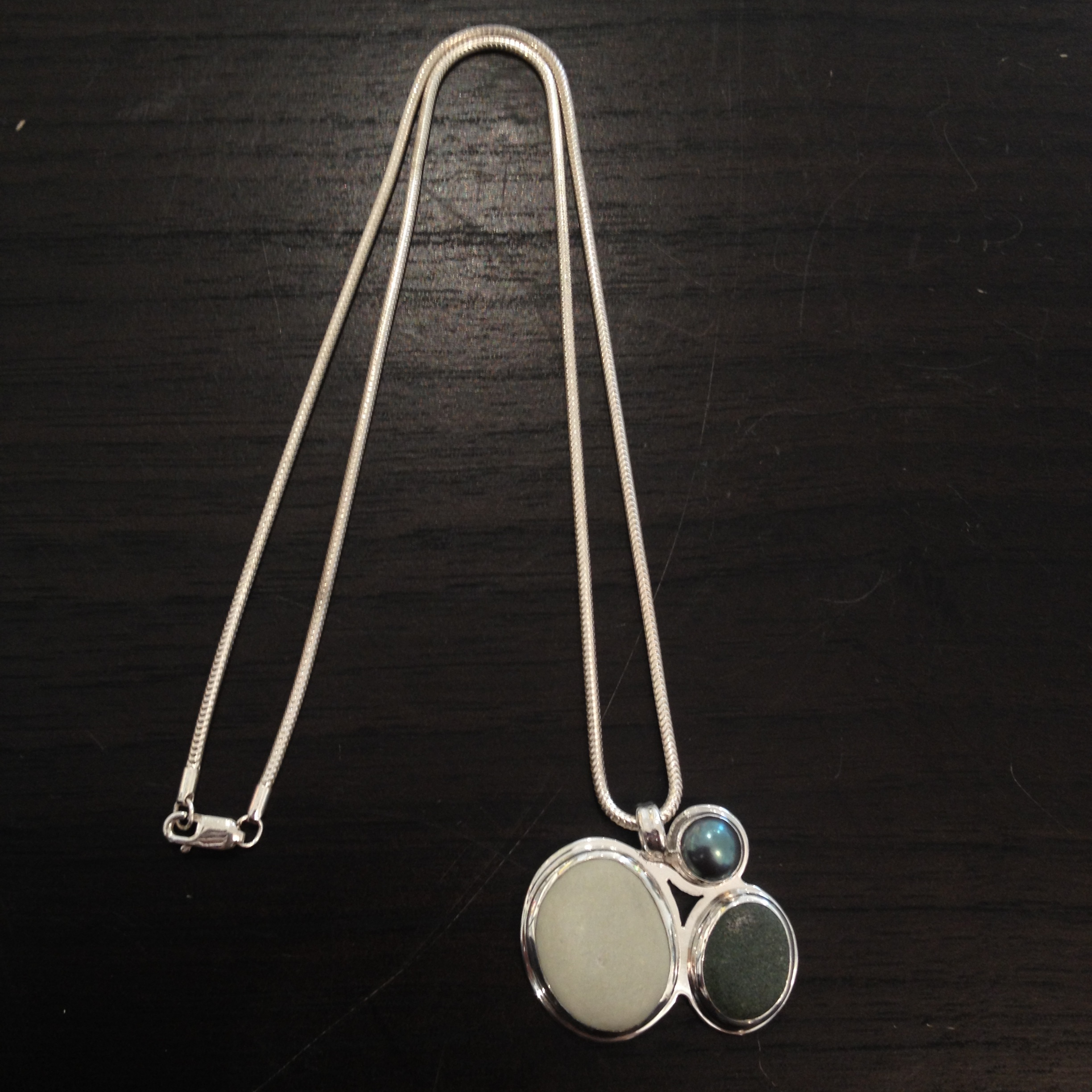 Double Beach Stone Necklace,   beach stone, sterling silver, freshwater pearl, $210