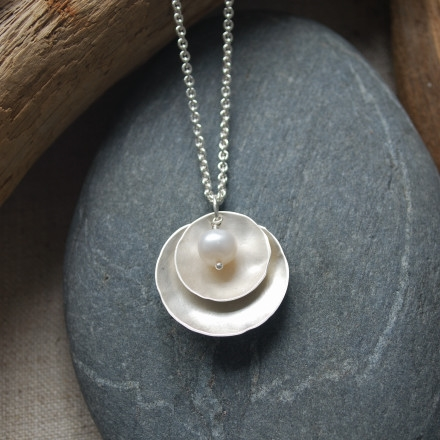 Double Dish Pendant,  sterling silver, freshwater pearl, $85