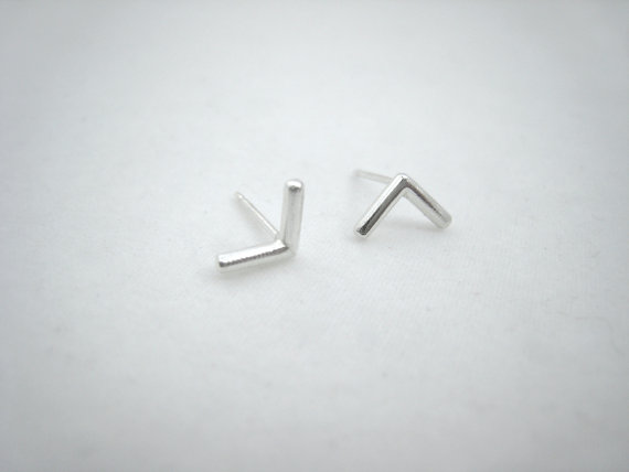 Tiny feather fletching stud earrings,  sterling silver