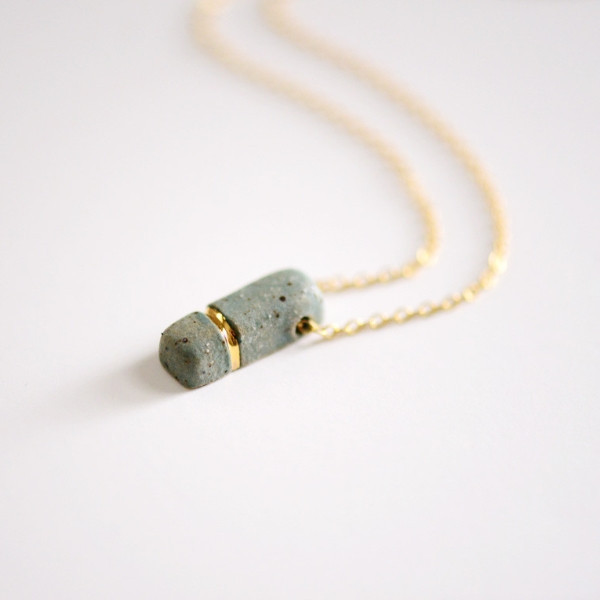 Small Buoy Charm Necklace, porcelain, 14k gold, $92