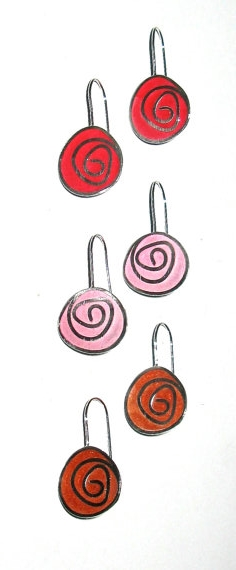 Swirl Earrings , sterling silver, resin $90 each