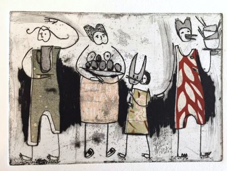"""Pitcher, Eggs, Mask, Bowls ,etching, drypoint, chine-collé, 12¾"""" x 16½"""" framed $325"""