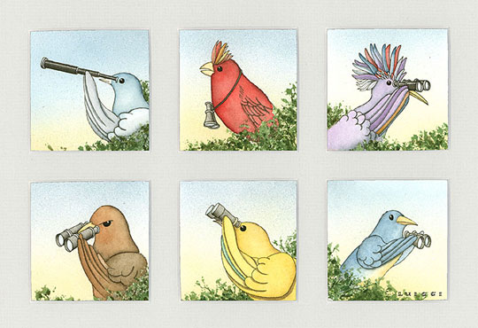 "Birdwatchers II,   watercolor on paper, 6 panels in a 13"" x 17"" frame , $750,  archival digital print available, 11"" x 14"", $130"