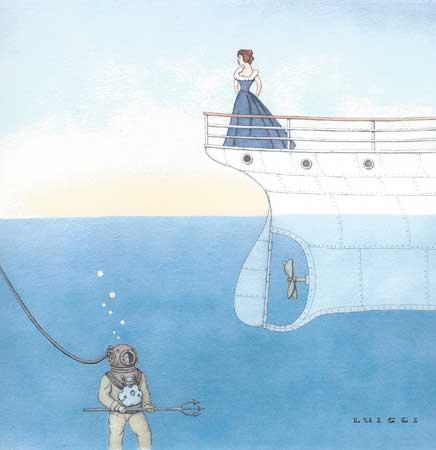 "They Never Met (Undersea) 4/50,  archival digital print of original watercolor, 15"" x 12"" framed"